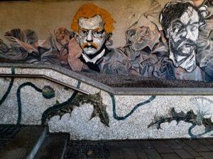 Krakow street art - Wyspiański mosaic