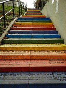 Krakow street art - Rainbow stairs