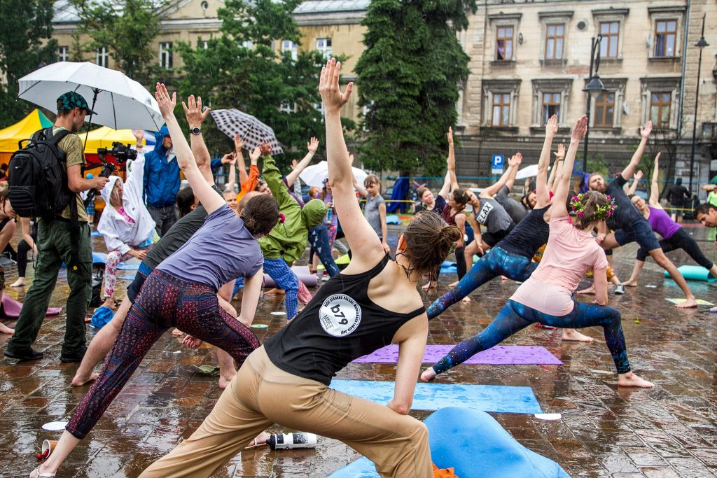 Mass yoga lesson during Wianki in Krakow
