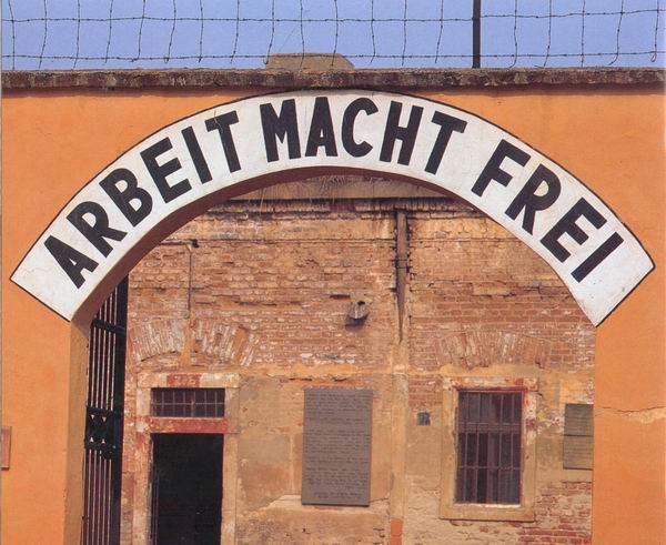 Arbeit macht frei sign in theresienstadt