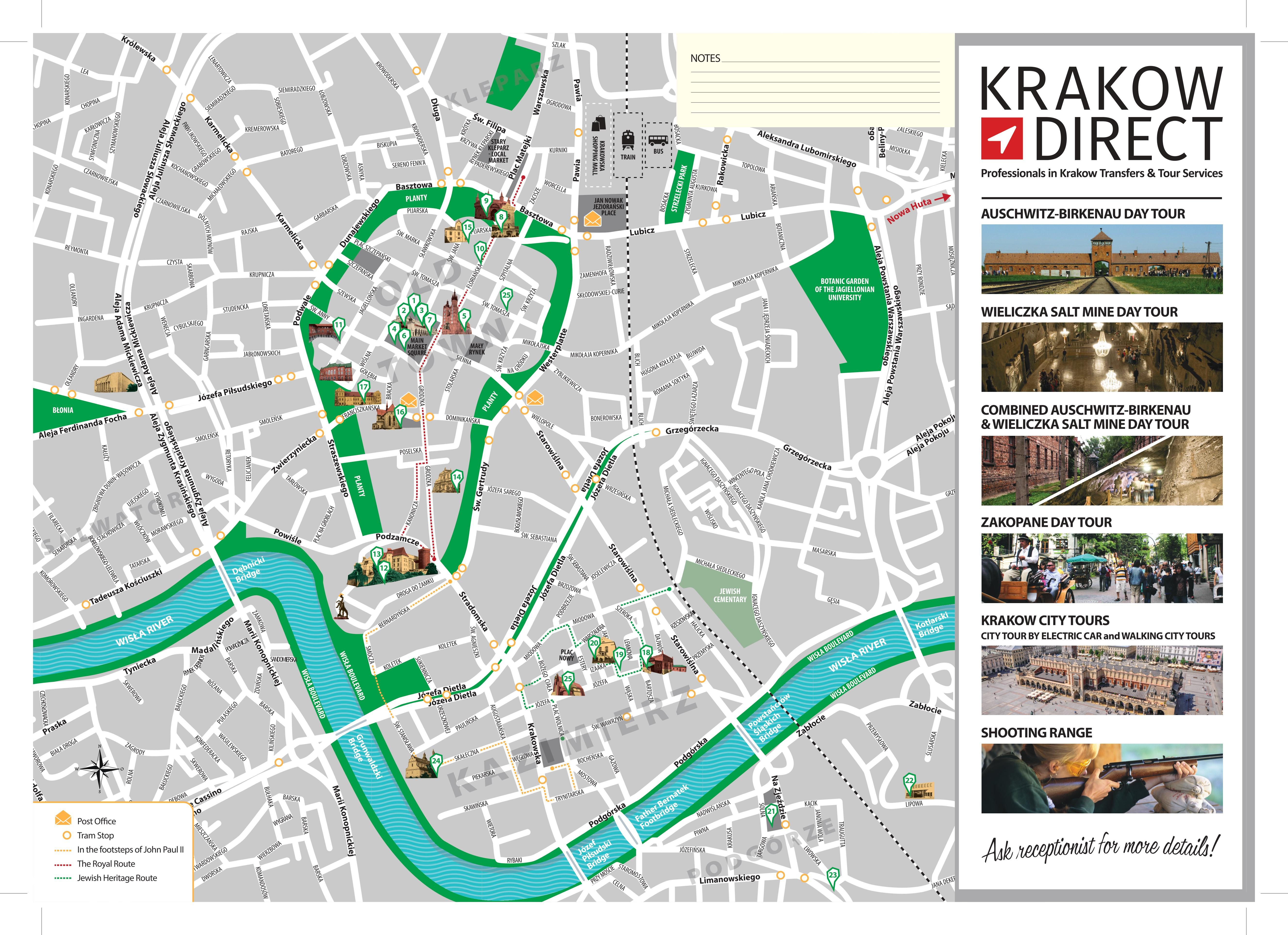 Krakow Map Free Pdf With Best Krakow Attractions