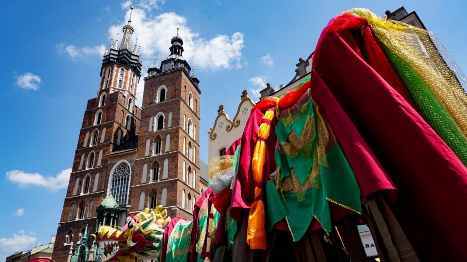 Dragon Parade in Krakow Main Square